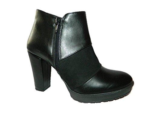 Bûche Chaussures avec Talon de Bottine Femme Noir Made in Italy