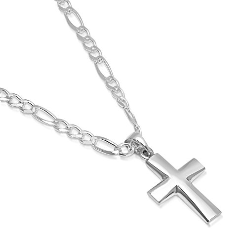 """XP Jewelry Sterling Silver Plain Cross Pendant Italian Made 4.0mm Figaro Chain Necklace - 100 4.0mm - 24"""""""
