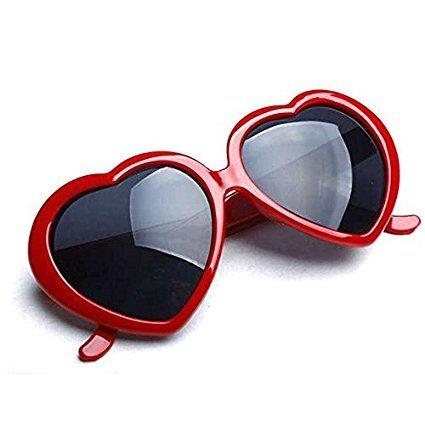 forma Rojo mujer wiBille de corazón plástico para de Gafas con sol de vxAfvY