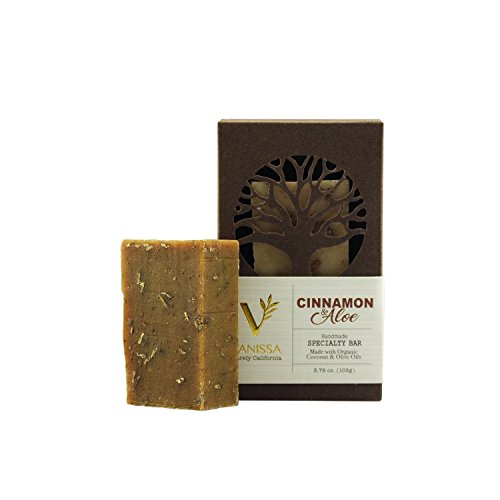 [Certified Organic Ingredients] Vanissa Aromatherapy Handmade Organic Specialty Bar Soap, Made With Organic Coconut Oil, Olive Oil, Cinnamon & Aloe, Proudly Made In USA. (Cinnamon & Aloe)