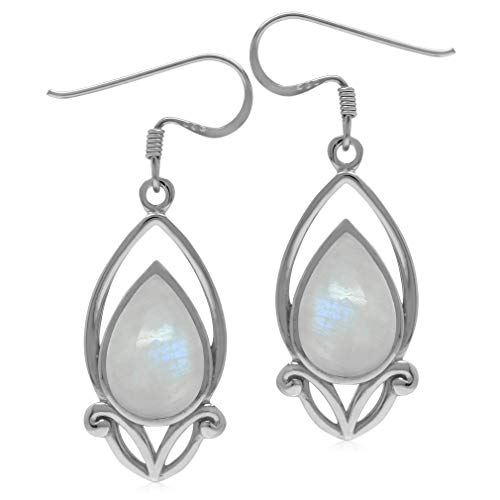(12x8MM Natural Pear Shape Moonstone 925 Sterling Silver Victorian Style Drop Dangle Hook Earrings)