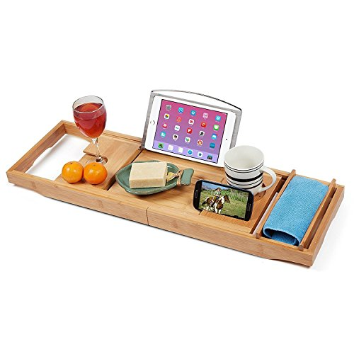 Expandable Bamboo Bathtub Caddy - Adjustable Wooden Serving Tray and Organizer for Any Size Bath Tub...
