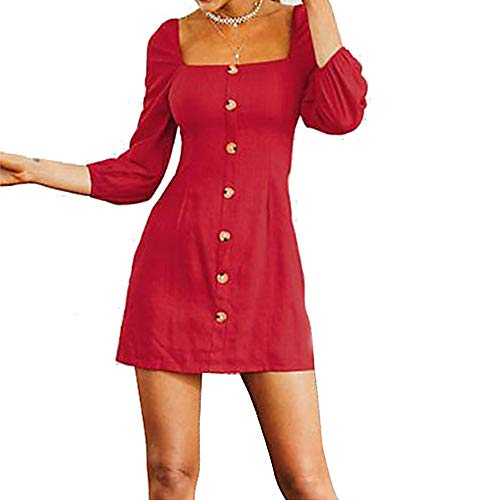 Color JIZHI Un Vestido S Mujer Red Vaina Mini USIqB