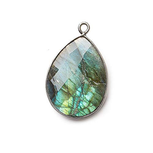 - 21x16mm Black Gold .925 Bezeled Labradorite Pear Focal Bead Pendant 1 pc