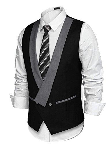 COOFANDY Mens Dress Vest Formal Business Waistcoat One Button Slim Fit Suit Vest by COOFANDY (Image #2)