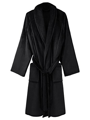long black fleece dressing gown - 1