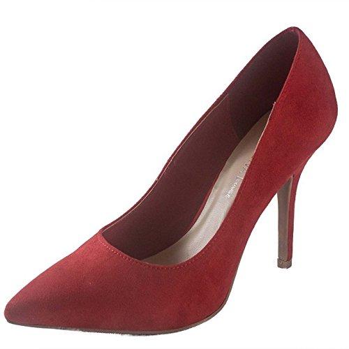Wild Diva Lounge Lovisa-01 Women's pointy toe high heel slip on stiletto pumps patent shoes Dark Red 5