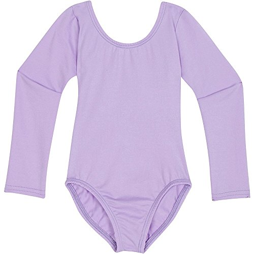 Toddler and Girls Leotard for Dance, Gymnastics and Ballet with Long Sleeve Lilac Purple S (4-5)