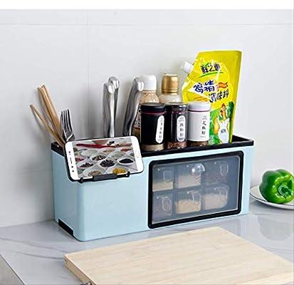Agujero sin clavos Caja de condimento de cocina multifuncional para colgar en la pared, utensilios de cocina, condimento, estante de almacenamiento, caja de almacenamiento: Amazon.es: Hogar