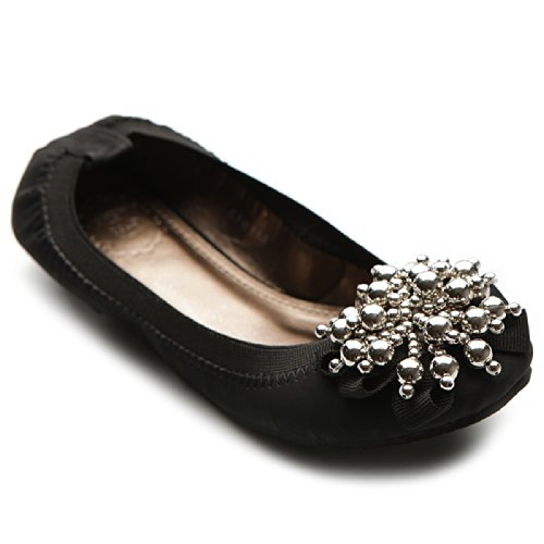 Ollio Women's Ballet Shoe Soft Cute Silver Bead Accent Flat M1913(7.5 B(M) US, -