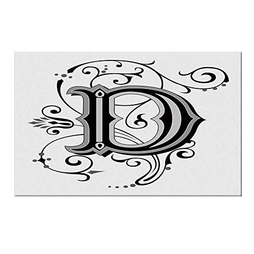 (YOLIYANA Letter D Durable Door Mat,Initial Letter from Medieval Scrolls Capital D Symbol Medieval Design Print for Home Office,17.7