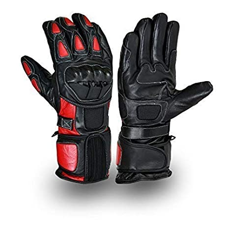 Red/Black Motorcycle Leather Cowhide Bikers Gloves Motorbike Kevlar Winter Glove (L) MBG19