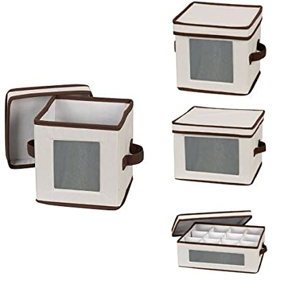 Merveilleux Amazon.com: HOUSEHOLD ESSENTIALS China Storage Box Bundle | Dinnerware And  Coffee Cup Cases | Natural Canvas With Brown Trim: Home U0026 Kitchen