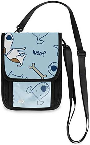 トラベルウォレット ミニ ネックポーチトラベルポーチ ポータブル 犬柄 かわいい ワンちゃん 小さな財布 斜めのパッケージ 首ひも調節可能 ネックポーチ スキミング防止 男女兼用 トラベルポーチ カードケース