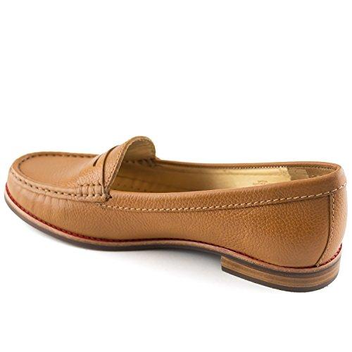 Echtes Lackleder Damen Made In Brasilien East Village Klassische Penny Loafer Marc Joseph NY Mode Schuhe Tan Körniges Leder