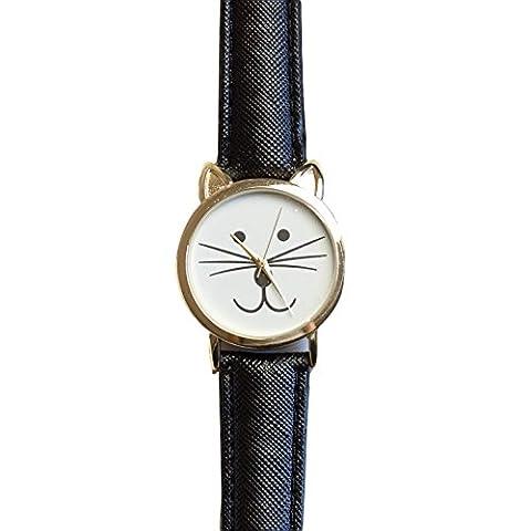 Geneva Kitty Quartz Japanese Movement Gold Dial Adult Watch (Geneva Watches Men Gold)