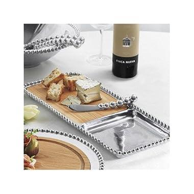 Mariposa Pearled Cheese & Cracker Server