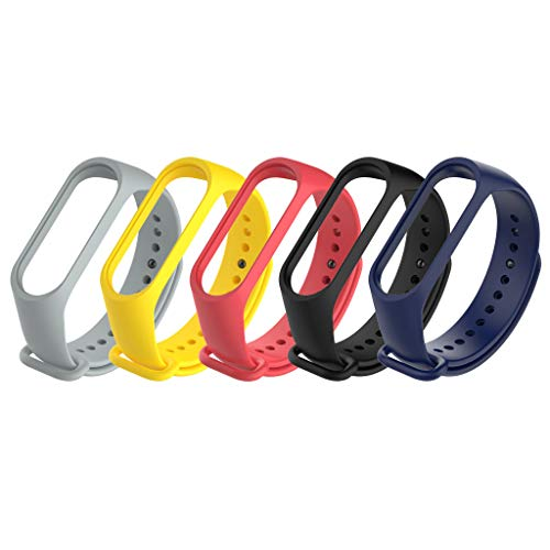 For Xiaomi Mi Band 3 Silica Gel Replacement Wristband - HHoo Compression Molding, Sturdy and Durable Band Strap Bracelet 5Pcs Set (Navy, Red, Yellow, Gray, Black)