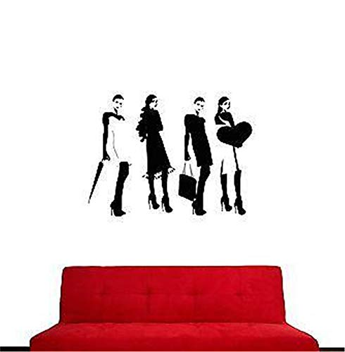 (Vinyl Peel and Stick Mural Removable Wall Sticker Decals Girl Woman Fashion Models Females Cool)