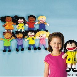 Fun Express - Plush Happy Kids Hand Puppets Set of 8 Multi-Ethnic Collection