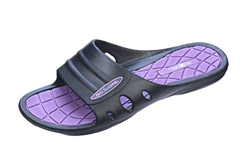 Flip Black Sandals Flop with Purple Arch Great Toe Hard Open Womens Roxoni Sole Slide Support EwOYxXqa