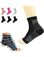 6 Pairs dr Sock Soothers Socks Anti Fatigue, Vita Wear Copper Infused Magnetic Foot Support Compression Sock (6*Black White, S/M)