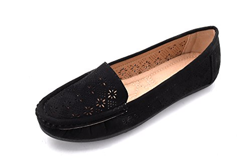 Womens Black Suede Loafers Shoes - Mlia Lady Womens Casual Slip On Loafer Moccasins Flats Driving & Walking Shoes Bridget Black/Suede 10