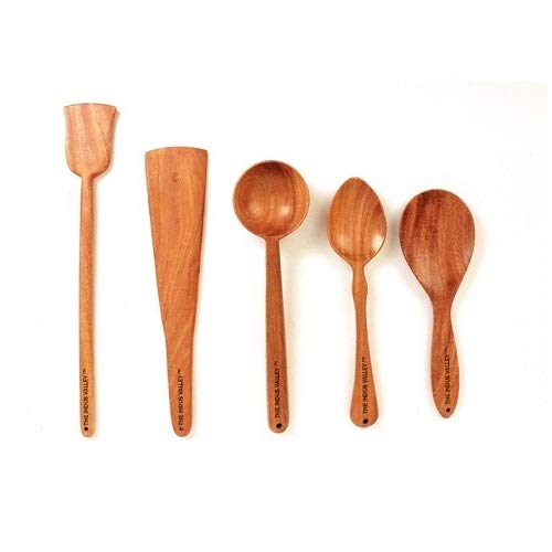 The Indus Valley Wooden Ladle Spatula for Cooking & Serving [ Neem Wood ] – Set of 5