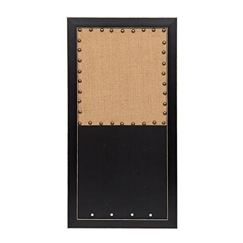 Combination Chalkboard - DesignOvation Wyeth Framed Combination Wall Organization Burlap Pinboard and Chalkboard, Black
