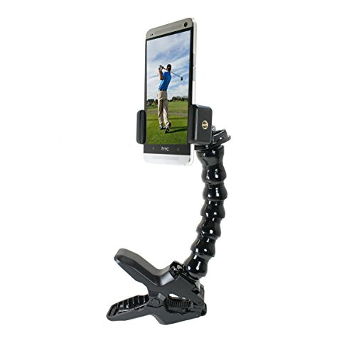 Golf Gadgets - Swing Recording System | Large Device Holder (PHABLET) with Jaws Clamp & Gooseneck Mount. Compatible Large devices Like iPhone 6/7 PLUS, Samsung Galaxy Note, etc. by Golf Gadgets