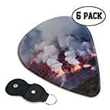 FJSLIE Lava Lake Guitar Picks Unique 351 Shape Celluloid Guitar Plectrums,6 Packs in Holder Case for Guitar Bass