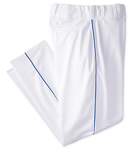 Rawlings Men's Relaxed Fit PP350MRP Piped Baseball Pant, White with Royal Piping, XX-Large - Relaxed Fit Baseball Pants