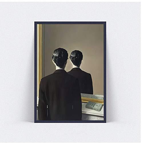 ASLKUYT Cuadro de lienzo grande Rene Magritte para no reproducir cuadros de pared para sala de estar carteles de impresion de arte famoso-24x32 en sin marco