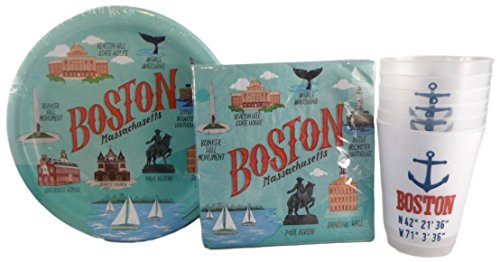 Boston Massachusetts Party Pack - 3 Items: One Pack Napkins, One Pack Plates, One Sleeve Plastic Cups
