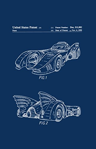 Framable Patent Art The Original Ready to Frame Décor Vintage Batmobile Batman Superhero 24in by 36in Patent Art Poster Print Navy Blue PAPMSP85NB from Framable Patent Art