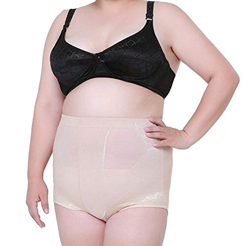 High Waist Plus Big Size Women's Tummy Control Panties Briefs Slimming Stretching Underwear,Beige,XXXL