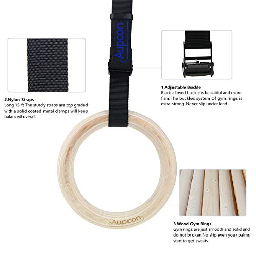 AUPCON Wooden Gymnastic Rings with Heavy Duty Adjustable Straps - Olympic Gym Ring for Strength Training, Workout, Bodybuilding, Cross Training, Fitness, Pull-Ups and Dip