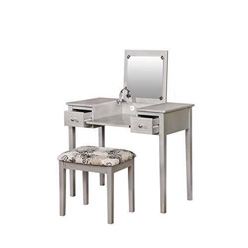 Atlin Designs 2 Piece Bedroom Vanity Set in Silver