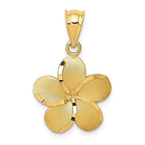 15 Plumeria Pendant Mm (Mia Diamonds 14k Solid Yellow Gold Diamond-Cut Plumeria Pendant (15mm x 15mm))