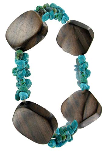 Adjustable Length Fashion Coldwater Creek Turquoise Beaded Wood Stretch Bracelet for Women