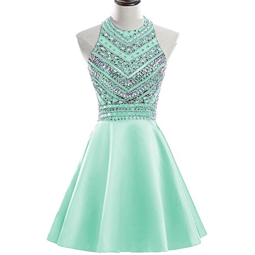 Chiffon Sequined Dress Bust (HEIMO Women's Sparkly Beaded Homecoming Dresses Sequined Prom Gowns Short H212 16 Mint Green)