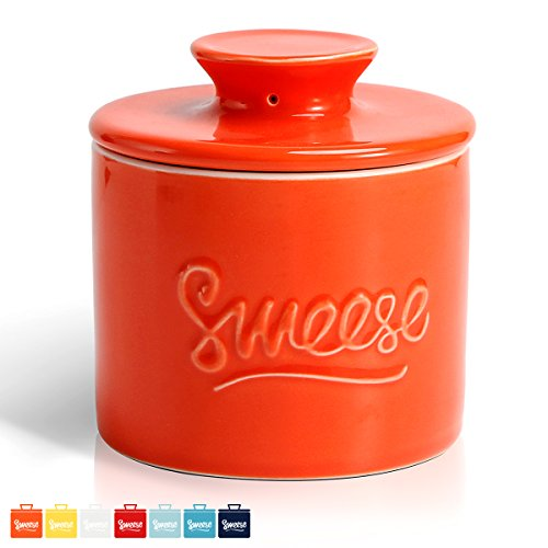 Sweese 3107 Porcelain Butter Keeper Crock - French Butter Dish - No More Hard Butter - Perfect Spreadable Consistency, Orange