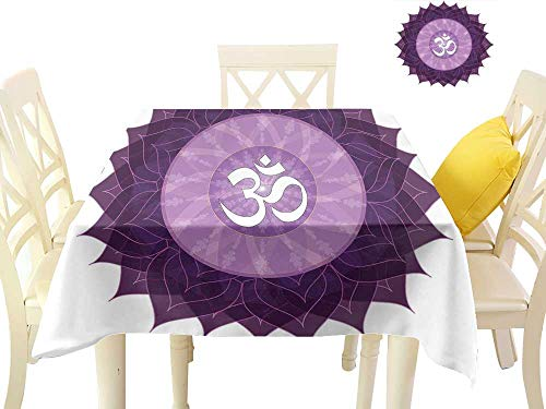 Chakra,Table Covers Circular Lace Like Point Form with Arabic Lettering The in Node Centre Meditation Image,BBQ Tablecloth W 60