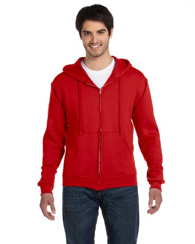Fruit Of The Loom Men's Full Zip Hoodie Sweatshirt, X Large, True Red