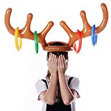 Naladoo 2018 Inflatable Reindeer Christmas Hat Antler Ring Toss Holiday Party Game Toys