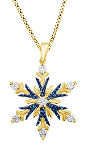 Jewel Zone US Blue & White Natural Diamond Accent Snowflake Pendant Necklace in 14K Yellow Gold Over Sterling Silver ()