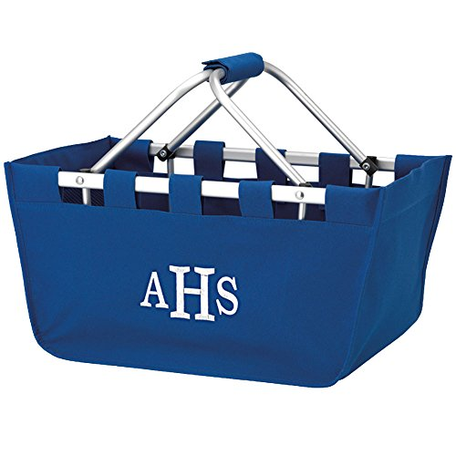 Personalized Royal Blue Large Collapsible Market Tote Basket