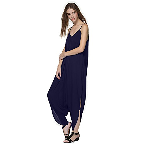 HelloPretty Women's Jumpsuit Bib Loose Pants Overalls V-neck Oversize (US12, Deep Blue)