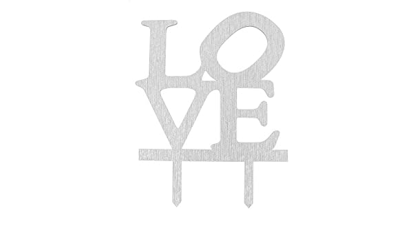 Amazon.com: eDealMax acrílico Aniversario de boda del Amor en Forma artesanal de la Magdalena Adorno de la Torta de tono de Plata: Home & Kitchen
