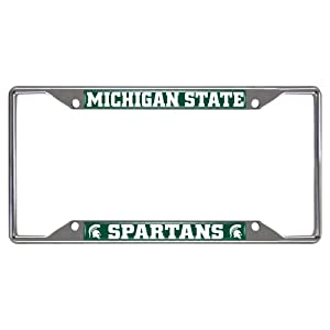 fanmats 14865 ncaa michigan state university spartans chrome license plate frame - Michigan State License Plate Frame